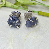 Raw Tanzanite Stud Earrings