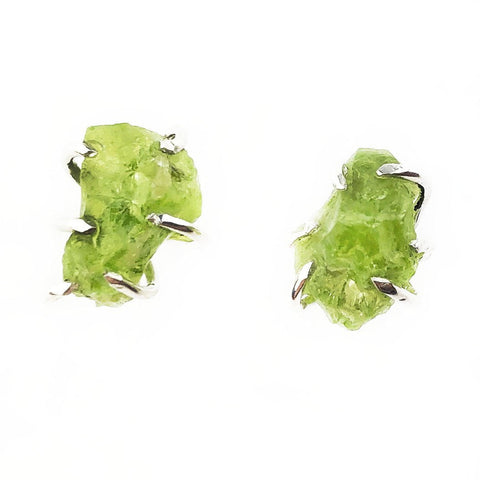 Raw Peridot Studs - Mettle by Abby