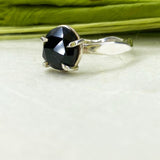 Rose Cut Black Spinel Ring