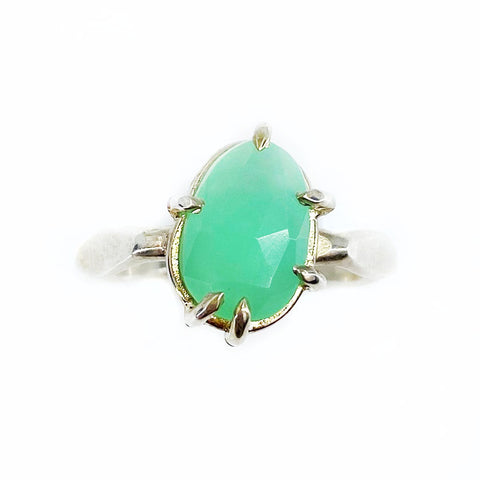 Rose Cut Chrysoprase Silver Ring