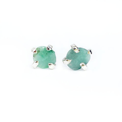Rose Cut Emerald Studs in Silver