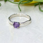 Rose Cut Silver Amethyst Ring