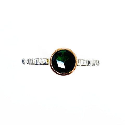 Rose Gold and Silver Black Opal Ring