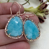 Rose Cut Amazonite Halo Earrings in Rose Gold - Mettle by Abby