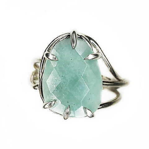 Rose Cut Amazonite Vine Ring - Mettle by Abby
