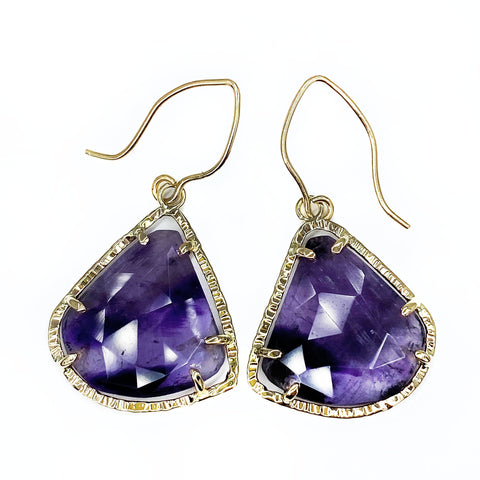 Rose Cut Amethyst Halo Earrings in Yellow Gold - Mettle by Abby