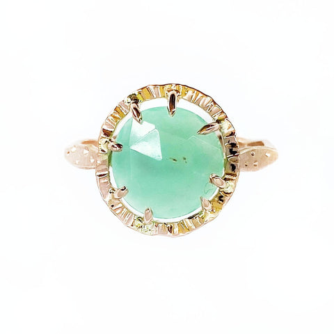 14K Rose Gold and Chrysoprase Star Dust Ring - Mettle by Abby