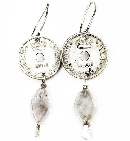 Rose Quartz Coin Earrings - Mettle by Abby