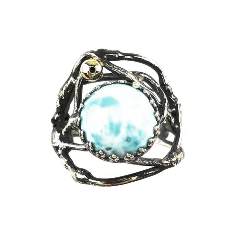 Round Larimar Seaweed Tangle Ring - Mettle by Abby