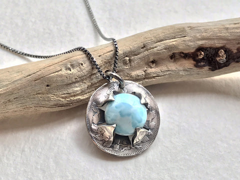 larimar coin necklace amazing coin jewelry mettle by abby