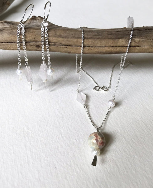 rose atlas jasper rose quartz and pearl jewelry set