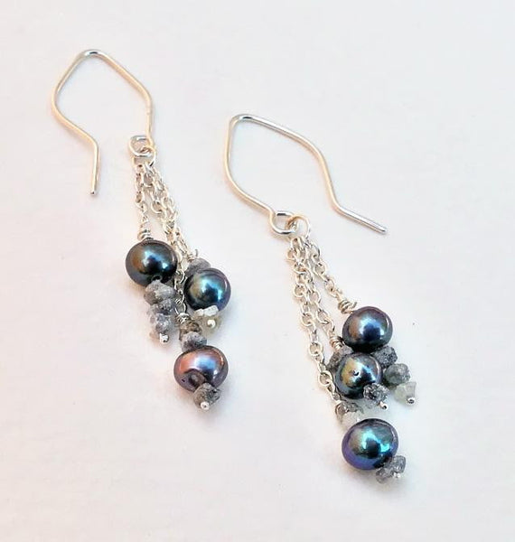 Sterling Silver Raw Diamonds and Pearls Dangle Earrings