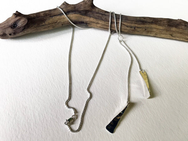 hammered silver lariat necklace