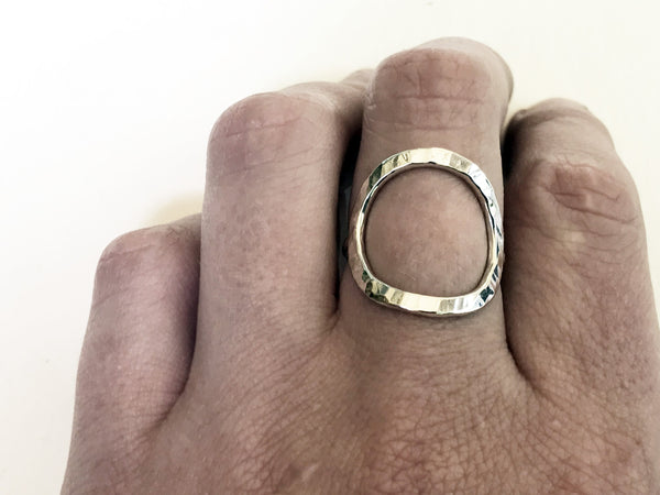 hammered silver circle ring