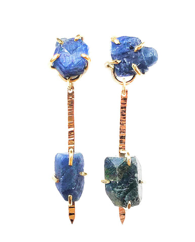 14k Sapphire Pinnacle Earrings