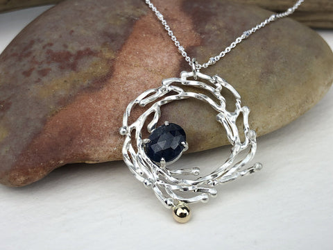 2.25 Carat Blue Sapphire Silver and Gold Wreath Necklace