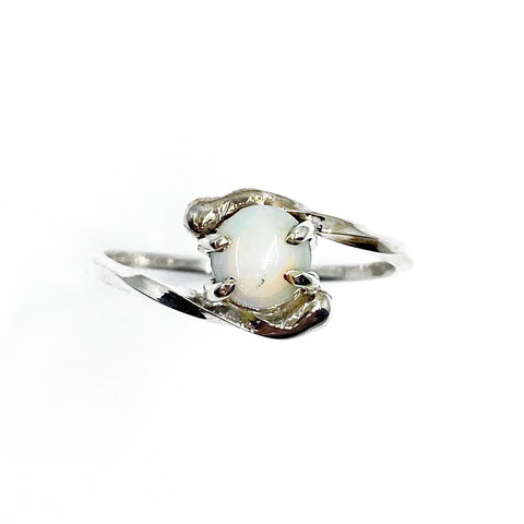 Silver and Australian Opal Twist Ring