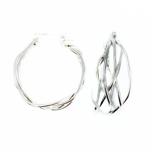 Silver Braid Hoops