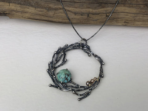 two tone turquoise wreath necklace