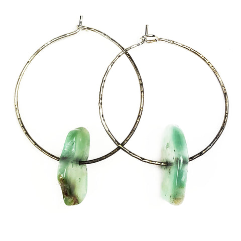 Simple Chrysoprase Hoops