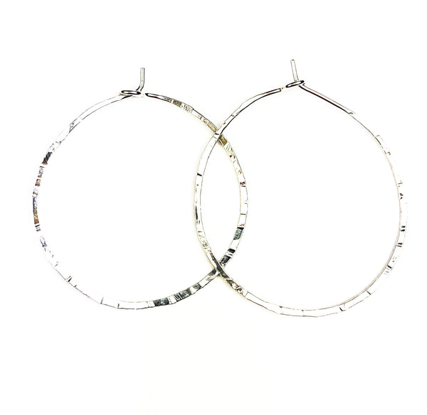 Simple Hammered Silver Hoops -Medium