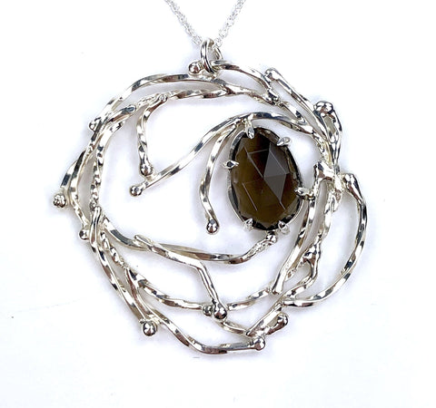 Smokey Quartz Wreath Necklace // Sterling Silver and Smokey Quartz - Mettle by Abby