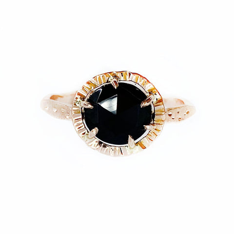 14k Star Dust Halo Ring in Rose Gold with Black Spinel - Mettle by Abby