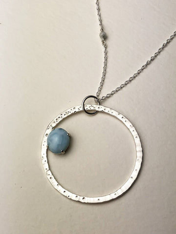 Star Dust Larimar Orbit Necklace Sterling Silver Statement
