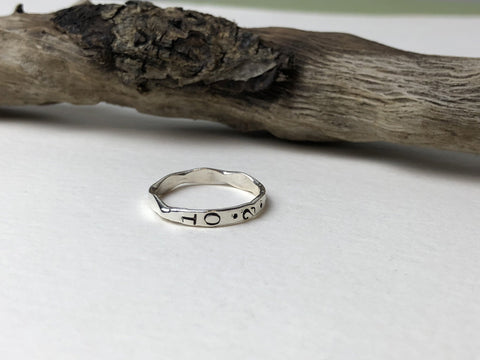 birthdate stamped silver ring