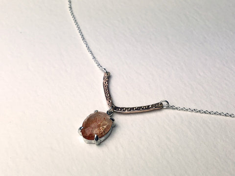 Sunstone with Star Dust Rose Gold Necklace