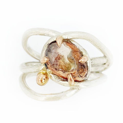 Sweet Embrace Silver and Rose Gold Mexican Boulder Opal Ring