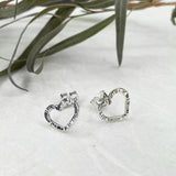 Sweet, Petite Silver Heart Stud Earrings
