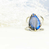 Tear Drop Labradorite Ring