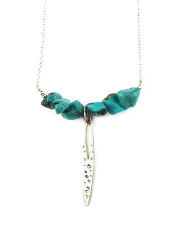 Turquoise and Star Dust Spire Necklace - Mettle by Abby