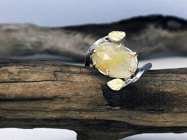 yellow sapphire leaf ring