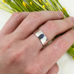 Wide Ripple Hammered Ring