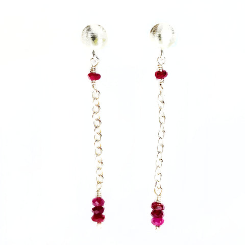 Women's Silver Ruby Post Earrings