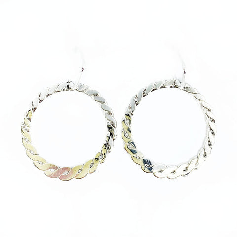 Woven Silver Circle Earrings - Mettle by Abby