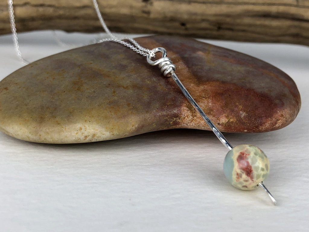 blue ocean jasper pendulum necklace
