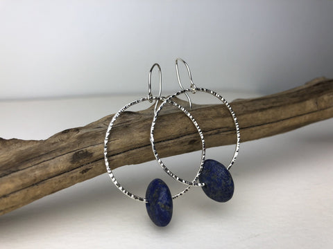 Lapis Hoop Earrings - Sterling Silver