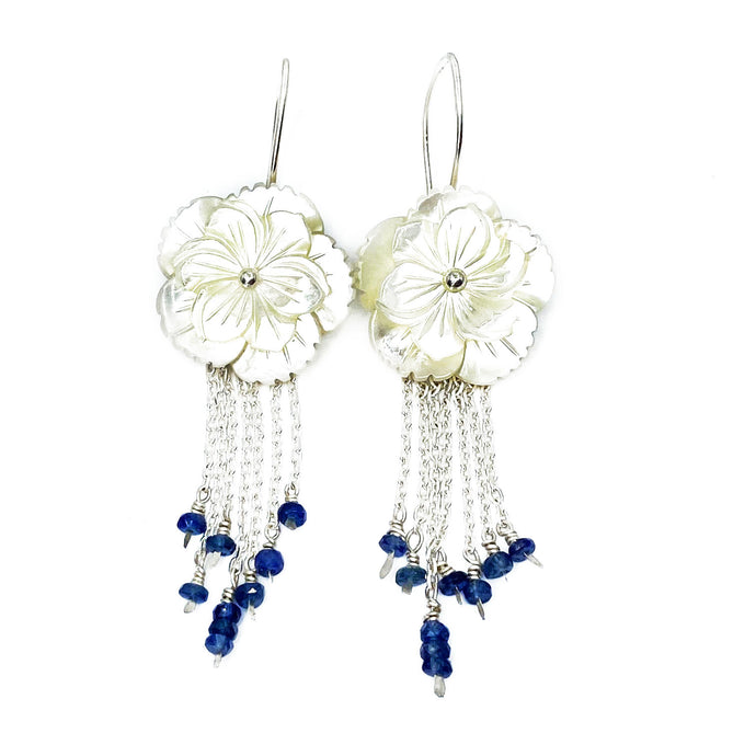 Mother of Pearl and Sapphire Blossom Earrings