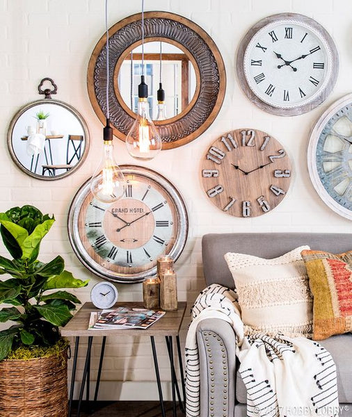 A bunch of clocks interior design