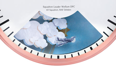 Clock with Aeroplane in Moving Clouds