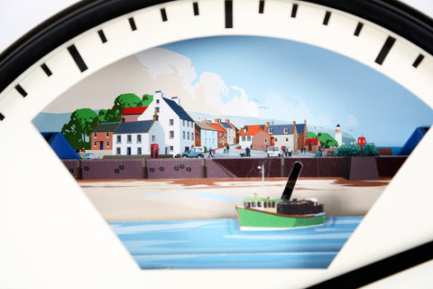 Tide Clock with moving scenery designed by Peter McDermott