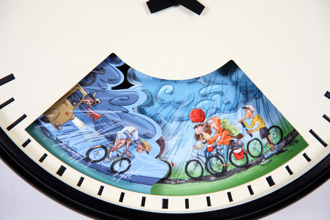 Cyclist wall clock with weather forecast