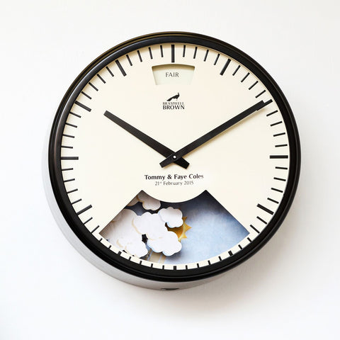 Small Black Personalised Weather Clock