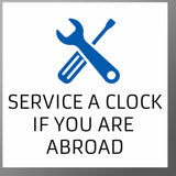 Service a clock outside the UK