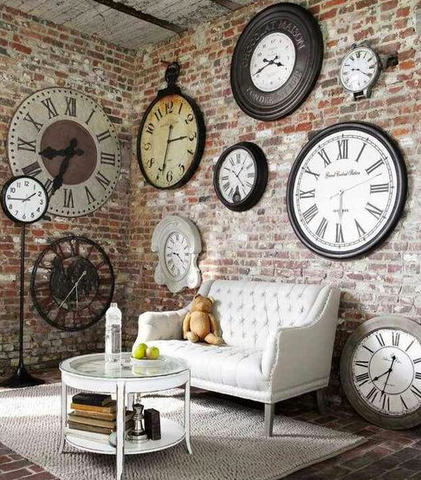 Industrial wall for clocks in contemporary home