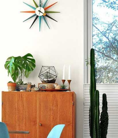 Fun retro wall clock in contemporary home