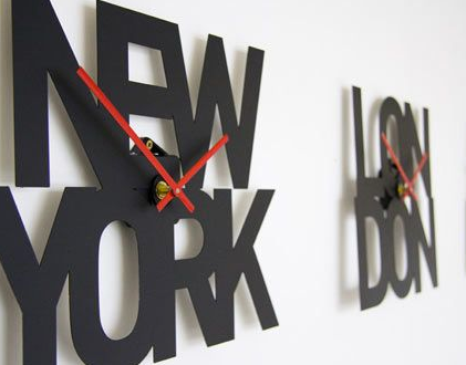 New York and London time wall clocks